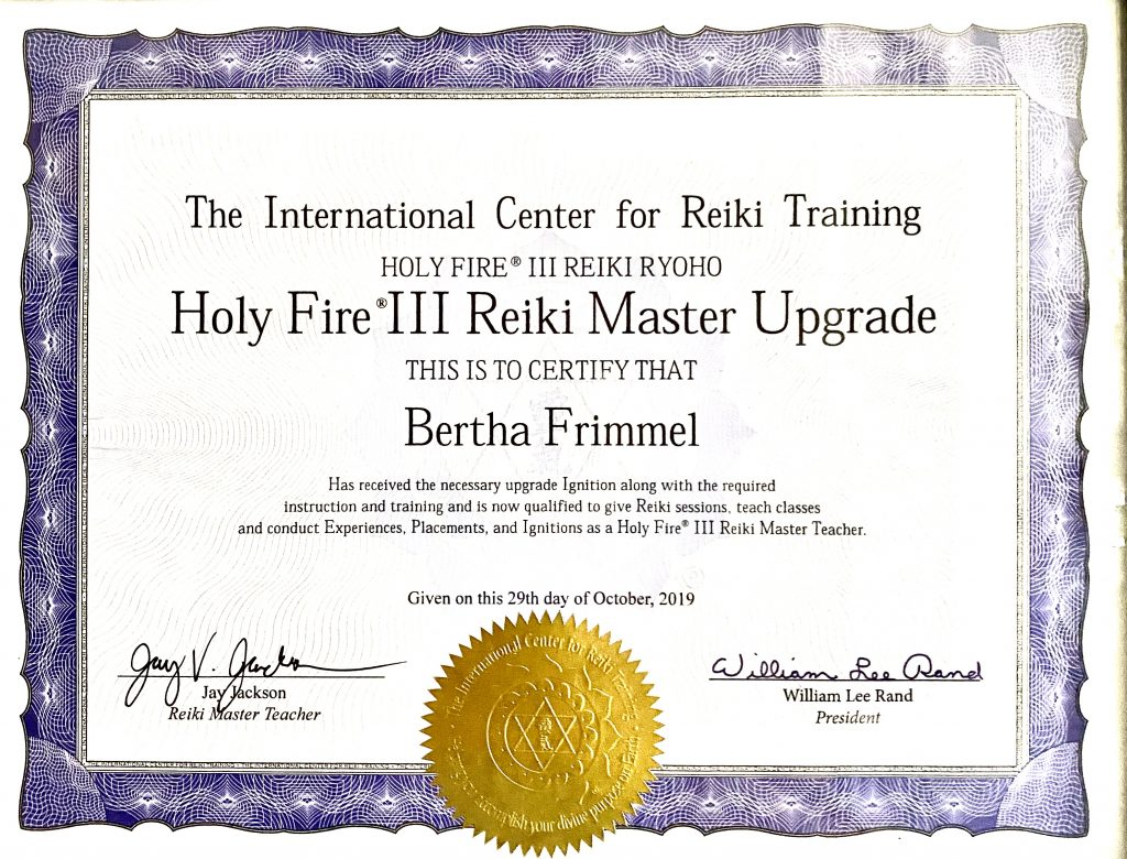 Reiki Holy Fire 3 Certificate